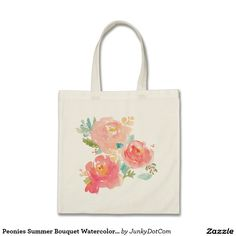 Peonies Summer Bouquet Watercolor Pastel Tote Bag @zazzle #junkydotcom Aug 24 2016  7x