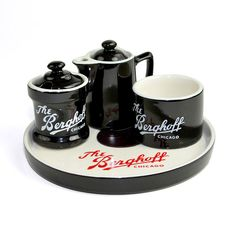 #Retro Style #Berghoff #Chicago #Restaurant #Ware #Collector's #Gift #Set - #Rare #Serving #Tray, #Coffee or #Tea Accessories - #Creamer, #Sugar Bowl+ by OneRustyNail on #Etsy