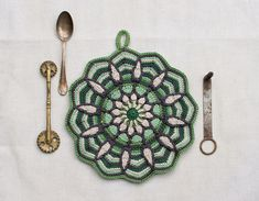 E-Book No. 1 in the kitchen 3 Pattern in Overlay by CAROcreated Crochet Mandala Pattern, Crochet Kitchen, Decorative Accessories, Overlays, Pot Holders, Crochet Projects, Needlework, Knit Crochet, Rugs