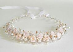 Flor Tiara de novia tocados de novia rosas corona por CyShell