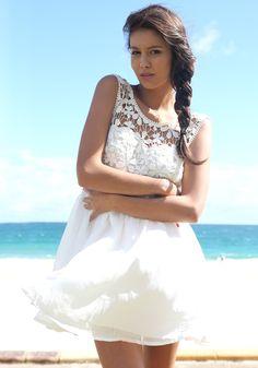 Crochet Plunge V Back Dress - White - Gorgeous Sweetheart Neckline Dress