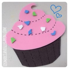 #Marcalibro en Forma de #Cupcake Cremoso  hecho en #Foami #EVAfoam #DIY