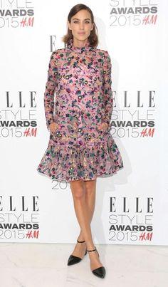 Alexa Chung in a pink floral Erdem dress