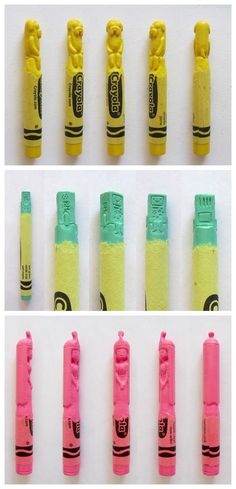 Artist Hoang Tran matches characters from popular culture to their appropriate crayon color and then carves the character into the actual crayon, including an entire series of characters from Adventure Time.