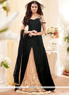 An superb black georgette designer floor length suit will make you appear extremely stylish and graceful. The beautiful embroidered work a vital attribute of this dress. Comes with matching bottom and...