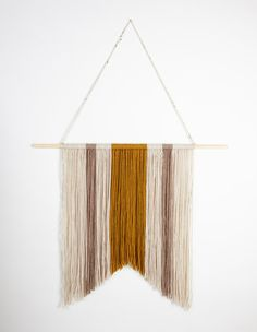 Neutral Asymmetrical Rustic Yarn Wall Hanging by theseamdesigns
