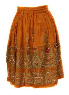 "Amazon.com: BombayFashions Short 22"" ORANGE Sequence/Thread Bohemian Gypsy Skirt- See Through/No Lining: Clothing"