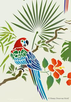 The Tropical Bird Parrot Theme Pack Stencil with tropical and exotic hibiscus and foliage, great for decorative stencil style for walls, furniture, fabrics. Bird Stencil, Damask Stencil, Stencils, Faux Painting, Stencil Painting, Fabric Painting, Black Fabric Paint, Creative Wall Painting, Forest Drawing
