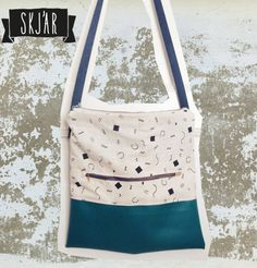 Big Bag > Little Geometric < screen print fabric vegan leather