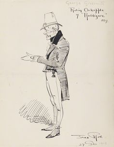 """George Grossmith as Robin Oakapple in the original DOC production of """"Ruddigore"""" at the Savoy Theater in 1887; pen and ink drawing by Fred Roe; signed and dated 1908 (""""1908"""" date possibly added at a different time than the signature?). From the National Portrait Gallery; estate of painter Fred Roe."""