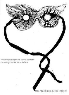 mardi gras mask zentangle