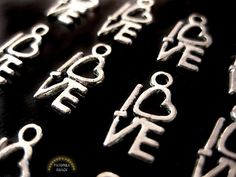 Love Charms in Silver Small Jewelry supply by pandorashack on Etsy, $2.99