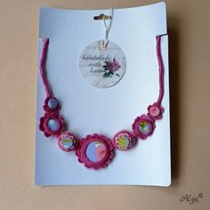 Náhrdelník Malinový sorbet /Crochet necklace