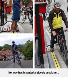 An Very Practical Invention - Now this is smart thinking!  My bicyclist friends would truly love it, I think.  Now it just needs a way for wheelchairs to get that same assist.