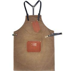 Unisex Brown/Gray Canvas Bib Apron with Genuine Leather Straps&Pockets. Suitable for Uniforms of Barber,Barista,Bartender,Baker,Chef,Stylist,Hairdresser,Waiter/Waitress,Florist,Painter,Gardener, or Workwear Cafe,Restaurant,Hotel,Bistro,Tattoo shop,Craft workshop etc.