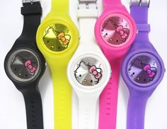 5 piece Hello Kitty Jelly Candy Silicone wrist Watch Lot Mix Wholesale NEW