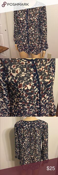 "Blue, brown & cram blouse Lift blouse, buttons up, 100% polyester. Armpit to armpit is 19"" length is 28"" LOFT Tops Blouses"