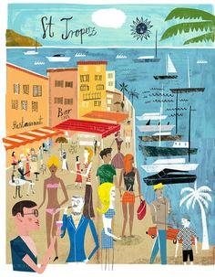Travel illustration by Martin Haake Vintage Poster, Vintage Travel Posters, Vintage Postcards, Illustrations Vintage, Illustrations Posters, Beach Illustration, Graphic Illustration, Saint Tropez, St Tropez France