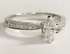 Engraved micropave diamond engagement ring set with a marquise cut diamond. Engraved micropave diamond engagement ring set with a marquise cut diamond. Vintage Style Engagement Rings, Princess Cut Engagement Rings, Engagement Ring Styles, Halo Engagement, Engagement Ring Settings, Diamond Engagement Rings, Princess Rings, Princess Wedding, Vintage Rings