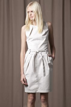 Off-white, structured, high neck dress with waist tie