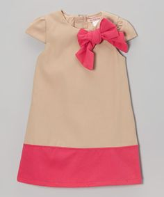 Take a look at this Beige & Fuchsia Bow Wool-Blend Cap-Sleeve Dress - Toddler & Girls on zulily today!