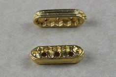 Fornitura Entrepieza rectangular 3 hilos 2x0,7 cm..chapado en oro mate de 22k para usar en joyería y alta bisuteria.