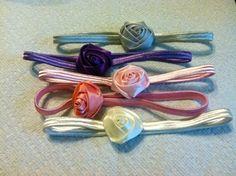 Satin Rolled Flower on Matching Headbands by AveryJanesBowtique, $6.00
