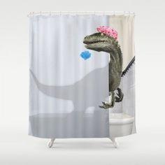 "velociraptor"" Shower Curtain Bathroom Shower Curtain by Designs By Royi Berkovitz - by 74 Funny Shower Curtains, Bathroom Shower Curtains, Unique Shower Curtains, Bathroom Remodel Cost, Curtain Designs, Curtain Ideas, Bathroom Humor, Bathroom Stuff, Bathroom Ideas"