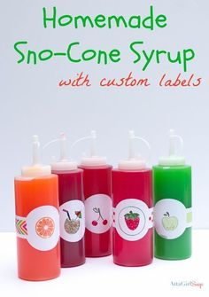 Homemade Snow Cone Syrup Recipe In Custom Bottles - Atta Girl Says Sno Cone Syrup Recipe, Snow Cone Syrup, Slushie Syrup Recipe, Creative Birthday Gifts, Birthday Gifts For Kids, Frozen Desserts, Frozen Treats, Cold Desserts, Snow Cone Stand