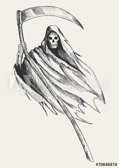 Creepy Drawings, Dark Art Drawings, Art Drawings Sketches Simple, Pencil Art Drawings, Cool Drawings, Cartoon Drawings, Drawing Ideas, Grim Reaper Art, Grim Reaper Drawings