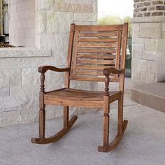Enhance your outdoor living space with this beautiful Forest Gate Eagleton All-Weather Acacia Wood Patio Rocking Chair. Classically-styled and built from sturdy and fashionable acacia wood, this chair is ideal for outdoor relaxation. Rocking Chair Plans, Outdoor Rocking Chairs, Porch Rocking Chair, Patio Dining Chairs, Cafe Chairs, Desk Chairs, Porch Chairs, Pool Furniture, Outdoor Furniture