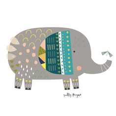 Illustration - Sally Payne Childrens Wall Art, Art Wall Kids, Art For Kids, Elephant Illustration, Children's Book Illustration, Character Illustration, Doodle Patterns, Elephant Print, Drawing For Kids