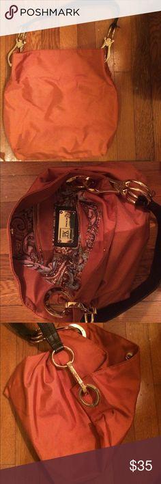 JPK Paris 75 handbag Orange nylon handbag/bucket bag with gold accents and dark brown leather strap; barely used; no signs of wear JPK Paris 75 Bags Shoulder Bags