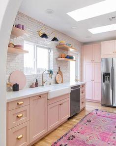 modern kitchen, kitchen cabinets, boho kitchen, kitchen decor ideas Kitchen 10 Insanely Cool Rooms That Started With a Bohemian Rug Boho Kitchen, Home Decor Kitchen, Home Kitchens, Pink Kitchens, Pastel Kitchen Decor, Kitchen Ideas, Pink Kitchen Interior, Pink Kitchen Designs, Romantic Kitchen