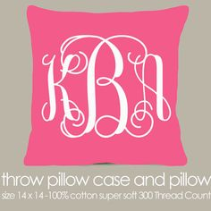 Monogram throw pillow pink fabric with white print pillow - great girls birthday gift on Etsy, $30.00