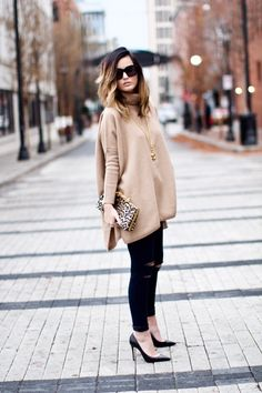 Neutral oversized sweater + leopard details for a cozy, chic look via For All Things Lovely | Cuyana sweater, J Brand denim, Chanel necklace, Christian Louboutin sweater, Jimmy Choo clutch, Chanel bracelet, Celine sunnies, David Yurman rings