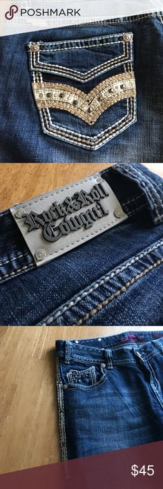 Rock and Roll Cowgirl Jeans!!! 31x32 I bought these jeans on here and there in perfect condition!! They just don't fit me quite right. They have Beautiful stitching on them along with diamonds and studs!! Rock & Roll Cowgirl Jeans Boot Cut
