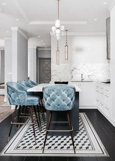 Baby Blue Tufted Kitchen Bar Stools & Stunning White Marble | Add A Touch Of Luxury With Velvet Decor | Decorating Your Apartment | Decor Trends 2018