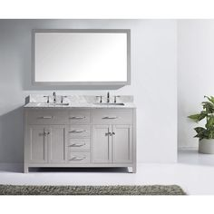 Virtu USA Caroline 72-inch Square Double Bathroom Vanity Set with Faucets (Polished Chrome Faucets, Cashmere Grey Finish)