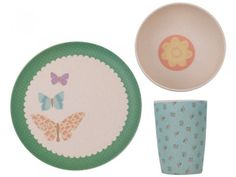 Pretty Butterflies Bamboo Dinnerware Set
