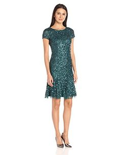 Adrianna Papell Women's Short Sleeve Cocktail Dress with Flare Skirt and Godets - New Dresses Special Today