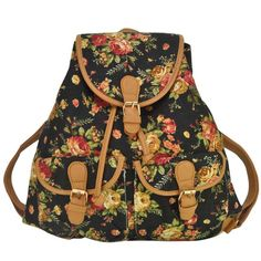New Factory Print cute rabbit retro Classi flower type student backpack Canvas Korean Hasp computer bag pocket women backpack