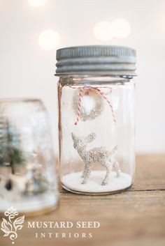 mason jar snow globes | miss mustard seed