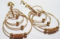 3 1/2 Gold Plated 4 Hoop Clipon Handcrafted Earrings by ADKOR, $8.49