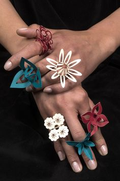 ring-collection-of - buyable Greeting Cards That Fold Into Wearable Paper Rings. - nice!!!!