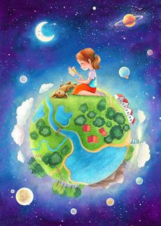 Earth Day Drawing, Earth Drawings, Art Drawings For Kids, Art Drawings Sketches, Cute Drawings, Drawing For Kids, School Murals, Digital Art Girl, Back To Nature