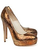 Spring must-have  Maniac platform pump in crackled bronze  Brian Atwood