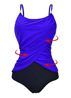 Zando Womens Vintage Frilly One Piece Swimsuit Tummy Control Swimwear Swimsuits Color Splicing Plus Size Bathing Suits