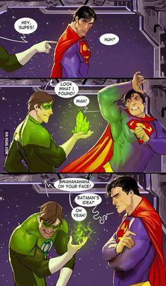 I'm guessing Superman pranked Batman like stealing his Batmobile and replacing it with a toy Batmobile. Then Batman retaliated by suggesting to Green Lantern the Kryptonite trick.Way to go Batman ^. Bd Comics, Marvel Dc Comics, Funny Comics, Dc Memes, Funny Memes, Hilarious, Univers Dc, Hq Dc, Mundo Comic