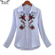 4db0a59cd1066 R  39.99 40% de desconto 2019 de alta qualidade Nova tendência outono  escritório Mulheres Casuais bordado Tops blusa Blusas Camisas Kimono Praia  Rosas ...